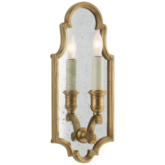Sussex Small Framed Sconce in Antique-Burnished Brass with Antique Mirror