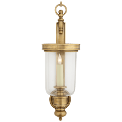 Georgian Small Hurricane Wall Sconce in Antique-Burnished Brass