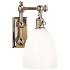 Pimlico Single Light in Polished Nickel with White Glass