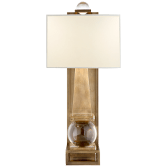 Paladin Tall Obelisk Sconce in Crystal and Antique-Burnished Brass with Natural Percale Shade