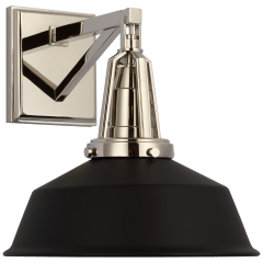 """Layton 10"""" Sconce in Polished Nickel with Matte Black Shade"""