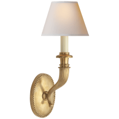 Fluted Horn Single Sconce in Antique-Burnished Brass with Natural Paper Shade