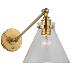 Parkington Single Library Wall Light in Antique-Burnished Brass with Clear Glass