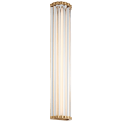 """Kean 28"""" Sconce in Antique-Burnished Brass with Clear Glass Rods"""