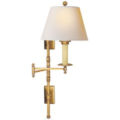 Dorchester Double Backplate Swing Arm in Antique-Burnished Brass with Natural Paper Shade