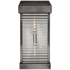 Dunmore Large Curved Glass Louver Sconce in Bronze with Clear Glass