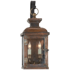 Suffork Small Scroll Arm Lantern in Natural Copper