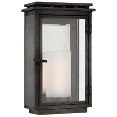 Cheshire Small 3/4 Wall Lantern in Aged Iron with Clear Glass