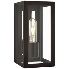 Fresno Small 3/4 Wall Lantern in Aged Iron with Clear Glass