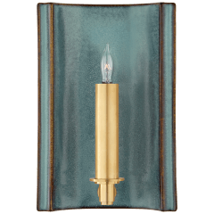 Leeds Small Rectangle Sconce in Oslo Blue