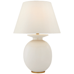Hans Medium Table Lamp in Ivory with Linen Shade