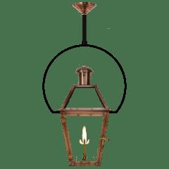 "Georgetown 22"" Yoke Ceiling Lantern in Antique Copper, Gas"