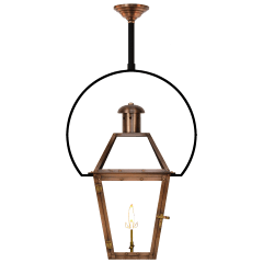"Georgetown 27"" Yoke Ceiling Lantern in Antique Copper, Gas"
