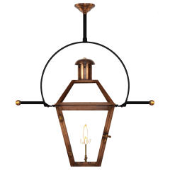 "Georgetown 27"" Classic Yoke Ladder Rest Ceiling Lantern in Antique Copper, Gas"