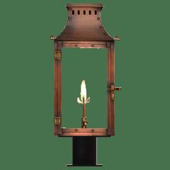 "Market Street 21"" Post Lantern in Antique Copper, Gas"