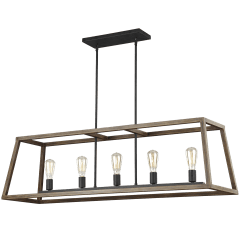 Gannet Linear Chandelier Weathered Oak Wood / Antique Forged Iron