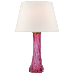 Lourdes Large Table Lamp in Cerise with Linen Shade