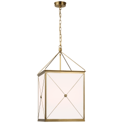 Rossi Medium Lantern in Antique-Burnished Brass with White Glass