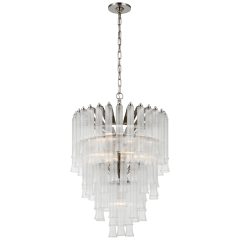 Lorelei Small Waterfall Chandelier in Polished Nickel with Clear Glass