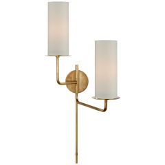 Larabee Double Swing Arm Sconce in Soft Brass with Cream Linen Shades
