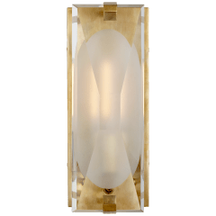 Castle Peak Small Bath Sconce in Soft Brass with Etched Clear Glass