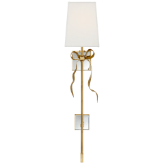 Ellery Gros-Grain Bow Tail Sconce in Soft Brass and Mirror with Cream Linen Shade