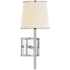 Bradford Medium Sconce in Polished Nickel and Mirror with Cream Linen Shade with Polished Nickel