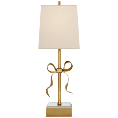 Ellery Gros-Grain Bow Table Lamp in Soft Brass and Mirror with Cream Linen Shade