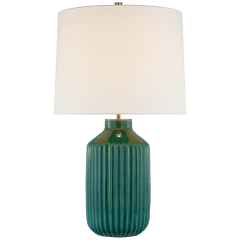Braylen Medium Ribbed Table Lamp in Emerald Green Crackle with Linen Shade