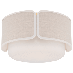 Eyre Medium Flush Mount in Soft Brass and Soft White Glass with Natural Linen with Cream Trimmed Shade