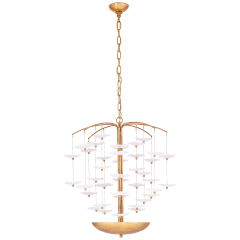 Leighton Medium Cascading Chandelier in Soft Brass with Cream Tinted Glass