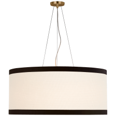 Walker Large Hanging Shade in Gild with Cream Linen Shade with Black Linen Trim