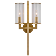 Liaison Double Sconce in Antique-Burnished Brass with Clear Glass