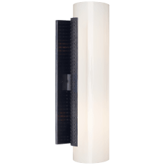 Precision Cylinder Sconce in Bronze with White Glass