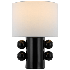 Tiglia Low Table Lamp in Black with Linen Shade