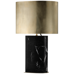Murry Large Teardrop Table Lamp in Black Marble with Antique-Burnished Brass Shade