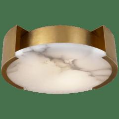 Melange Small Flush Mount in Antique-Burnished Brass with Alabaster