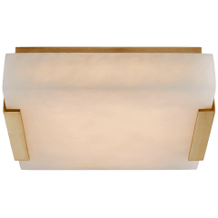 Covet Small Flush Mount in Antique-Burnished Brass with Alabaster