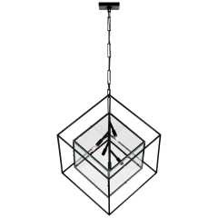 Cubed X-Large Pendant in Aged Iron with Clear Glass