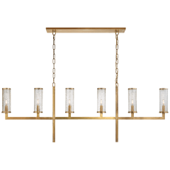 Liaison Large Linear Chandelier in Antique-Burnished Brass with Crackle Glass