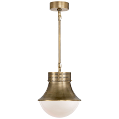 Precision Small Pendant in Antique-Burnished Brass with White Glass