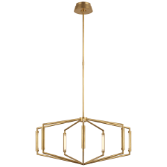 "Appareil 30"" Low Profile Chandelier in Antique-Burnished Brass"