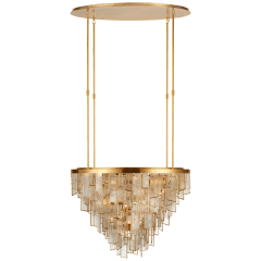 Ardent Large Waterfall Chandelier in Antique-Burnished Brass with Fractured Glass Trim