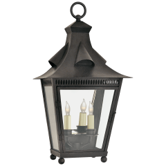 Orleans Medium 1/2 Wall Lantern in French Rust with Clear Glass