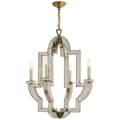 Lido Medium Chandelier in Antique Mirror and Hand-Rubbed Antique Brass