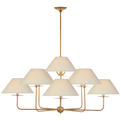 Kelley Large Chandelier in Gilded Iron with Linen Shades