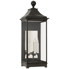 Rosedale Large 3/4 Wall Lantern in French Rust with Clear Glass