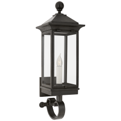 Rosedale Petite Bracketed Wall Lantern in French Rust with Clear Glass