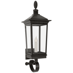Rosedale Classic Petite Tall Bracketed Wall Lantern in French Rust with Clear Glass