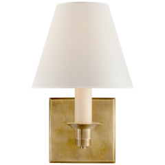 Evans Single Arm Sconce in Natural Brass with Percale Shade